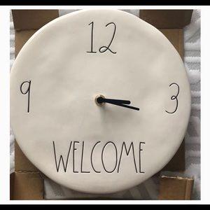 Rae Dunn Welcome clock NWT
